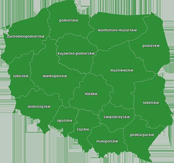 Mapa dystrybutorów w Polsce