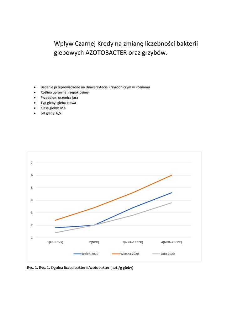 Wpływ Czarnej Kredy na zmianę liczebności bakterii glebowych AZOTOBACTER oraz grzybów.